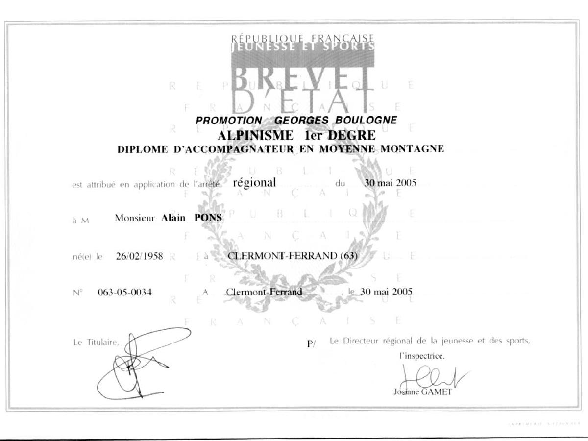 diplôme du brevet d'état d'accompagnateur en montagne attribué à Alain Pons en 2005